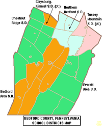 Map of Bedford County Pennsylvania School Districts.png
