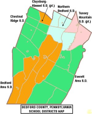 Everett, Pennsylvania - Map of Bedford County, Pennsylvania public school districts showing Everett Area School District in green