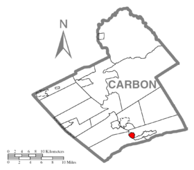 Map of Bowmanstown, Carbon County, Pennsylvania Highlighted.png
