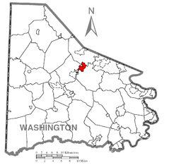 Map of Canonsburg, Washington County, Pennsylvania Highlighted.png