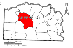 Location of Center Township in Greene County