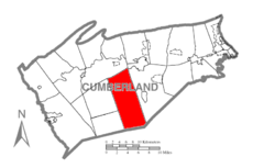 Map of Cumberland County, Pennsylvania highlighting Dickinson Township