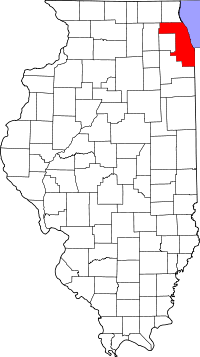 Map of Илиноис highlighting Cook County