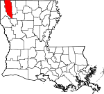State map highlighting Bossier Parish