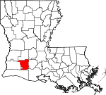 State map highlighting Jefferson Davis Parish