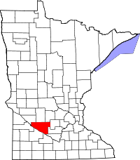 Map of Minnesota highlighting Renville County