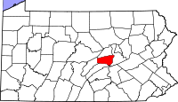 Map of Pennsylvania highlighting Snyder County