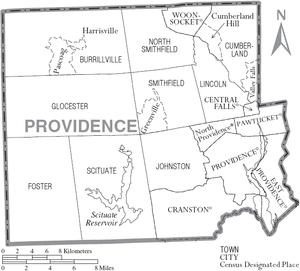 Providence County, Rhode Island - Map of Providence County, Rhode Island showing cities, towns, and CDPs
