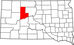 State map highlighting Ziebach County