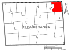Map of Susquehanna County Pennsylvania highlighting Harmony Township.PNG