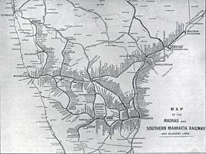Madras and Southern Mahratta Railway - Map of the Madras and South Mahratta Railway lines