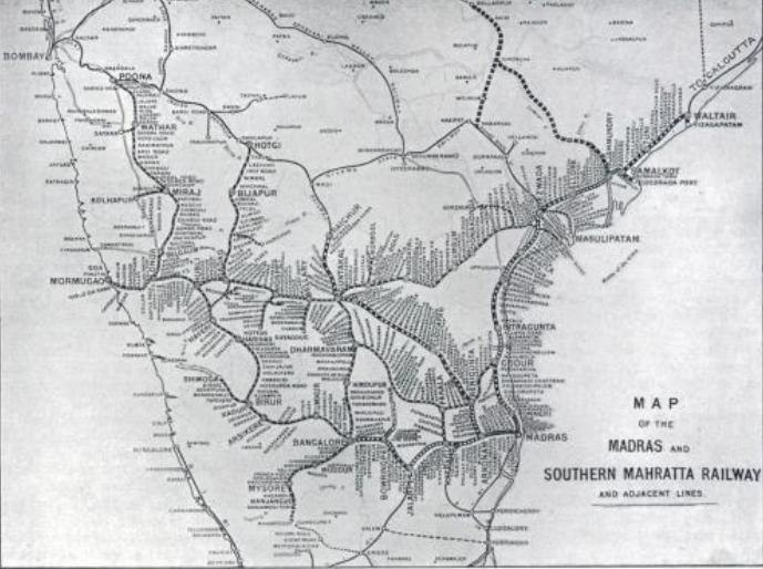 Map of the Madras and South Mahratta Railway lines