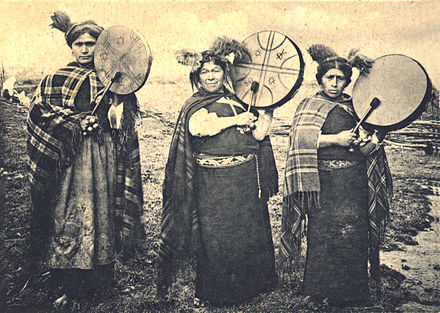 Mapuche Machis with Kultrun, a traditional drum Mapuche Machis.jpg