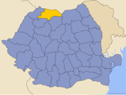 Administrative map of Romania with Maramureş county highlighted