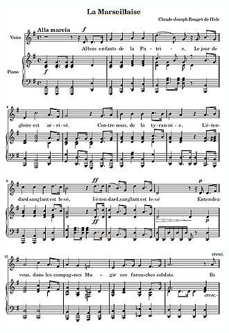 "La Marseillaise - Score of the opening lines of ""La Marseillaise"""