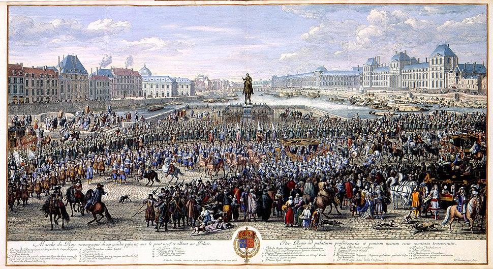 Marche du Roy accompagn%C3%A9 des ses gardes passant sur le pont neuf et allant au Palais