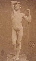 """Gaudenzio Marconi (1841-1885), Auguste Neyt, modello de """"L'età del bronzo"""" di Rodin (1877)."""