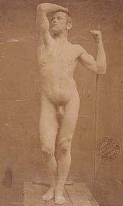 """-1885), Auguste Neyt, modelo de """"La edad del bronce"""" de Rodin (1877"""