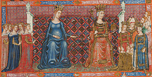 Blanche of Anjou - Blanche and her family in Bible of Naples