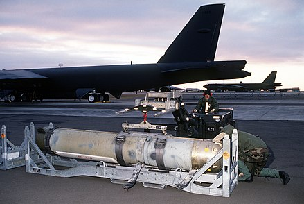 A CAPTOR mine being loaded onto a B-52 Stratofortress at Loring Air Force Base Mark 60 CAPTOR-DF-ST-90-11649.JPEG