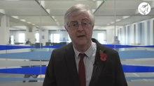 File: Mark Drakeford, il messaggio del primo ministro del governo gallese come tagliafuoco finisce.webm