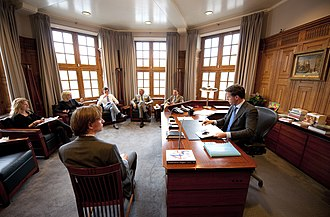 Torentje - Prime Minister Mark Rutte and his staff at work inside Het Torentje with in 2012.