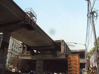 Line 1 (Mumbai Metro) - Marol station under construction in Andheri in March 2012.