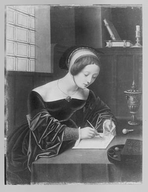 Mary Magdalene writing at her desk