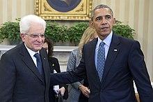 Mattarella con il presidente degli Stati Uniti Barack Obama nel 2016