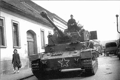A German-made Panzer IV tank of the Bulgarian Army in Hungary in March 1945. The Soviet style star markings are meant to prevent confusion with an actual German Panzer IV. May 1945 Hungary-Bulgarians.jpg