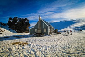 Snow Farm, New Zealand - View of Meadow Hut in winter