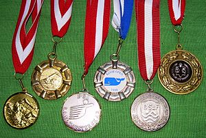 Medal - Various prize medals with obverse designs, suspension rings and ribbons typical of medals intended to be draped over the head and hung from the neck
