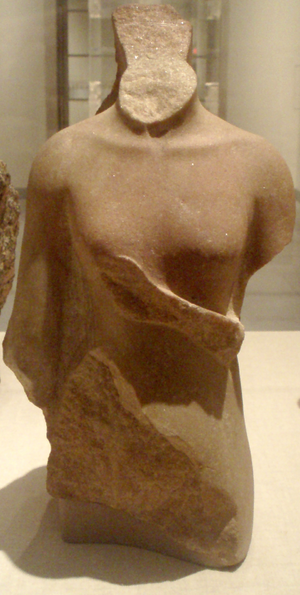 Meketaten - Fragmentary quartzite statue of the Amarna princess Meketaten, from the reign of Akhenaten, circa 1352-1336 B.C. On display at the Brooklyn Museum. The broken hand over the figure's right breast was common to images depicting young girls, and likely once held a flower or rattle.