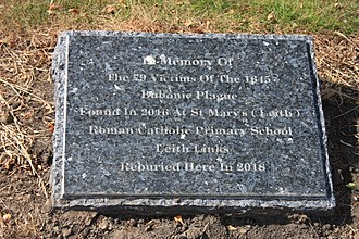 Leith Links - Memorial plaque to 79 plague victims removed from Leith Links in 2017 and buried in Rosebank Cemetery in 2018