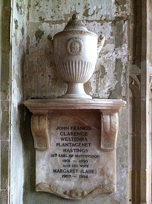 Francis Hastings, 16th Earl of Huntingdon - Memorial to the Earl in Ashby Church