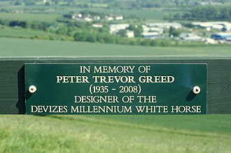 Devizes White Horse - The plaque on the entrance gate on the hill to the horse's designer, Peter Greed, who died in 2008.