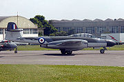 Civilian operated Gloster Meteor NF.11 (Registered G-LOSM) painted as Royal Air Force Serial WM167 at Kemble, England, 2003
