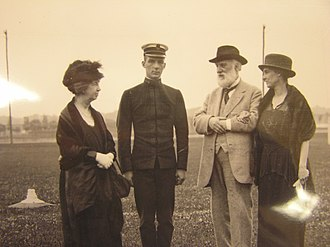 Melville Bell Grosvenor - Melville Grosvenor's mother, Elsie May Bell Grosvenor (right), and grandparents, Mabel and Alexander Graham Bell, visit him at the U.S. Naval Academy.  Grosvenor was a member of the Class of 1923.