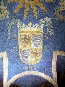 Stemma di Galeazzo Maria Sforza, dipinto su un soffitto del castello