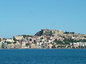 "Milazzo - View of the Castle, Old Cathedral, Ancient ""Borgo"", and part of waterfront of the city center."