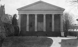 Miller Chapel - Miller Chapel with its pre-1933 design, located adjacent to Alexander Hall, facing Mercer Street.  The Stuart Hall tower, since removed, can be seen at left.