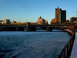 Milwaukee River - The Milwaukee River frozen over as it is crossed by the Saint Paul Avenue bridge