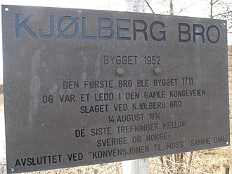 Battle of Kjølberg Bridge - Plaque of the Battle of Kjølberg bridge August 14, 1814.