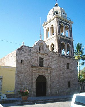 Reductions - A cathedral was always at the center of the reductions, this one in Loreto, Baja California Sur.