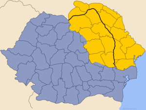 Map showing Romania without Moldavia in blue and the territory of the Moldavian Principality (parts inside and outside Romania) in yellow
