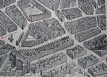 Ancien plan du quartier de Paris où est né Molière