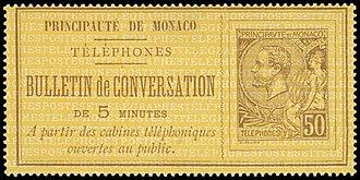 Underprint - Image: Monaco circa 1892 50c telephone stamp