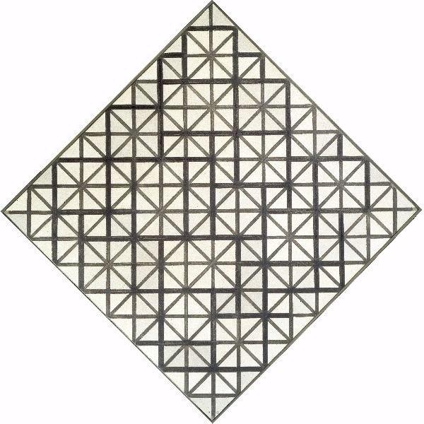 Mondrian Losangique met grijze lijnen