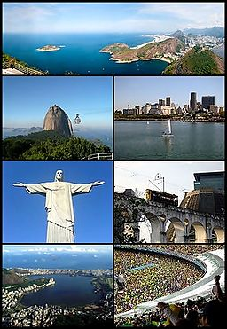 Top fra venstre:   Panorama over Rio de Janeiro, Sukkerførsteklasses, Downtown, Cristo Redentor, Arcos da Lapa, Lagoa Rodrigo de Freitas og Maracanã.
