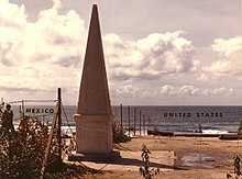 Monument marking the Initial Point of Boundary Between U.S. and Mexico (1974 photo).jpg